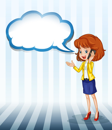 Illustration of a girl talking with an empty callout Stock Vector - 22405000