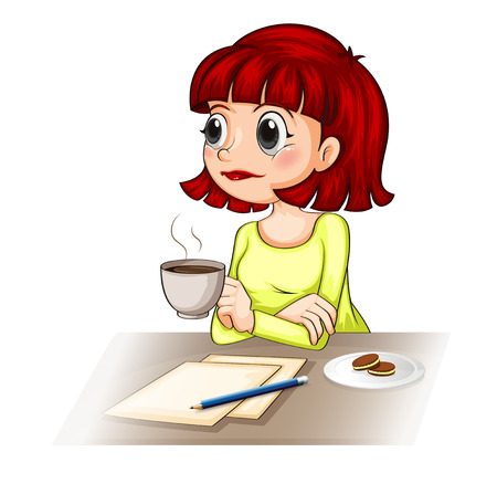 formal attire: Illustration of a businesswoman taking her cup of tea while making a report on a white background