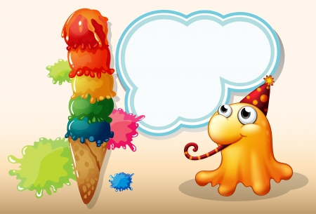 Illustration of a monster celebrating beside the giant icecream Vector