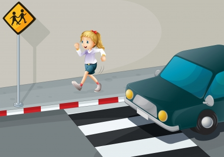 crossing the road: Illustration of a girl running at the streetside