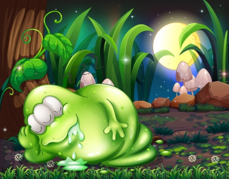 salivating: Illustration of a monster sleeping in the forest