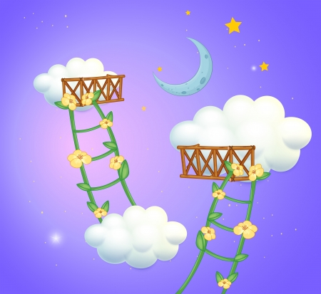 improvised: Illustration of the two plant ladders going to the sky
