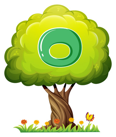 vowel: Illustration of a tree with a letter O on a white background