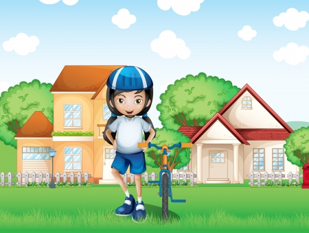 Illustration of a smiling girl and her bike near the big houses Vector