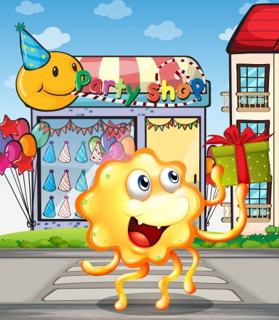 outside the box: Illustration of a monster in front of the party shop Illustration