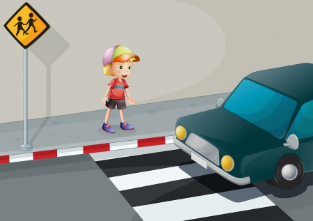 the crossing: Illustration of a young boy at the pedestrian lane