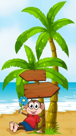 Illustration of a beach with a monkey holding a flower Vector