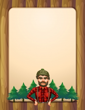 menu board: Illustration of a lumberjack standing in front of the pine trees