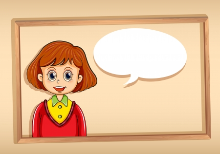 sides: Illustration of a girl inside a frame with a callout