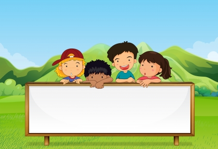 Illustration of the kids near the mountain with an empty signboard Vector