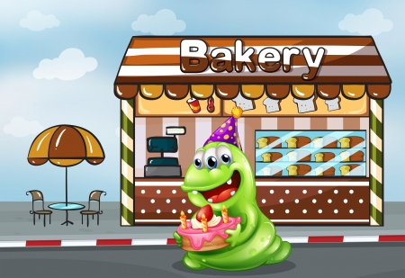 Illustration of a monster with a cake near the bakery Vector