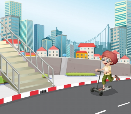 Illustration of a boy skateboarding at the street Vector