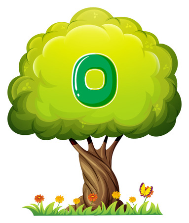 Illustration of a tree with a number zero figure on a white background Vector