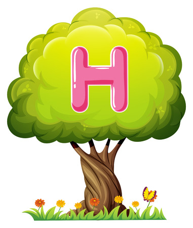 Illustration of a tree with a letter H on a white background Vector
