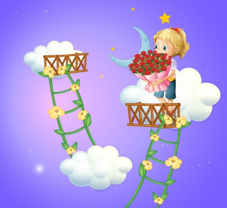 improvised: Illustration of a girl holding a bouquet of roses