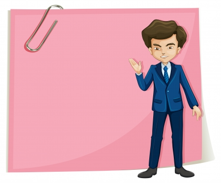 sides: Illustration of a businessman in front of the empty pink signage on a white background