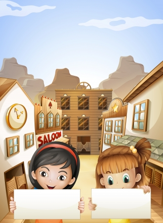 Illustration of the two kids near the saloon bars holding two empty signboards Vector