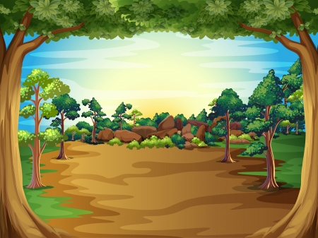 cartoon land: Illustration of a sunrise at the forest with trees