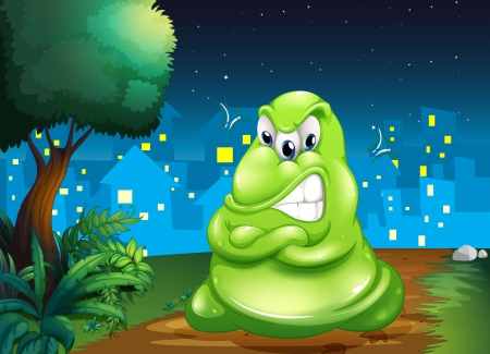 dreadful: Illustration of an angry fat monster across the village Illustration