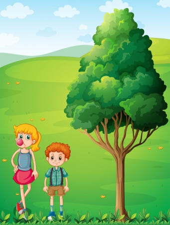 Illustration of a tall girl with her brother at the hilltop Vector