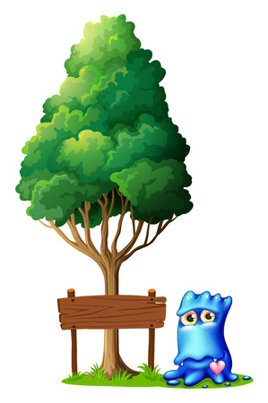 Illustration of a monster beside the empty signboard under the tree on a white background Vector