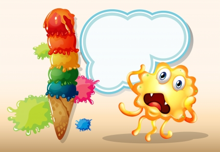 Illustration of a giant icecream beside the monster in front of the empty cloud template Vector