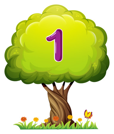 number of animals: Illustration of a tree with a number one figure on a white background Illustration
