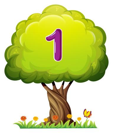 numero uno: Illustrazione di un albero con un numero di una figura su uno sfondo bianco