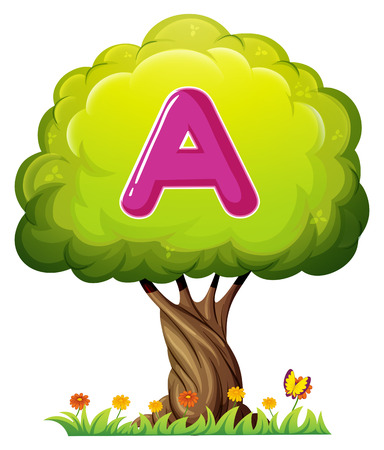 animal alphabet: Illustration of a tree with a letter A on a white background