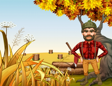 Illustration of an angry lumberjack near the giant old tree Vector