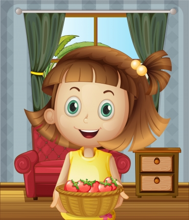 Illustration of a girl inside the house holding a basket of strawberries Vector