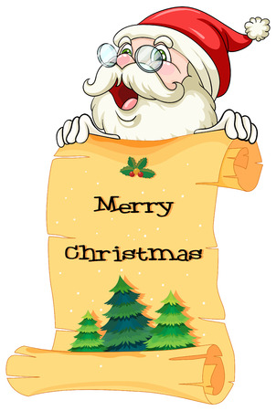 Illustration of an old Santa holding a paper scroll with christmas greeting on a white background Vector