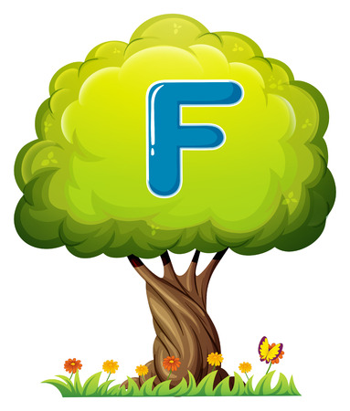 Illustration of a tree with a letter F on a white background Vector