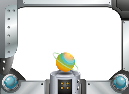 computerized: Illustration of a metal frame template with a planet