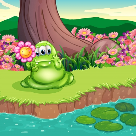 lilypad: Illustration of a green monster at the riverbank holding a flower