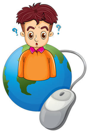 mouse click: Illustration of a globe with a boy thinking on a white background