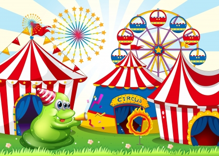 flaglets: Illustration of a carnival with a green three-eyed monster