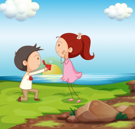 riverbank: Illustration of a boy making a marriage proposal at the riverbank