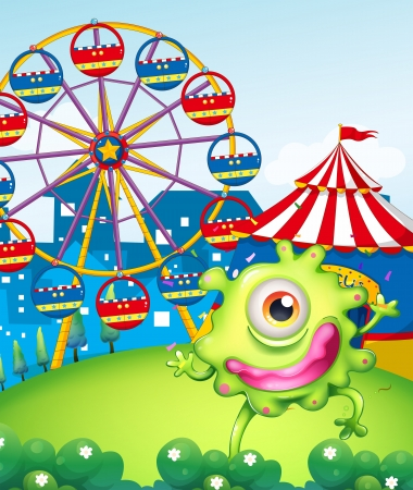 Illustration of a one-eyed green monster at the carnival in the hilltop Vector