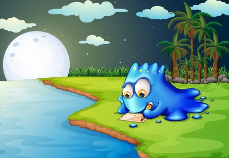riverbank: Illustration of a blue monster writing a letter at the riverbank