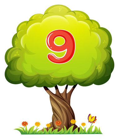 Illustration of a tree with a number nine figure on a white background Vector