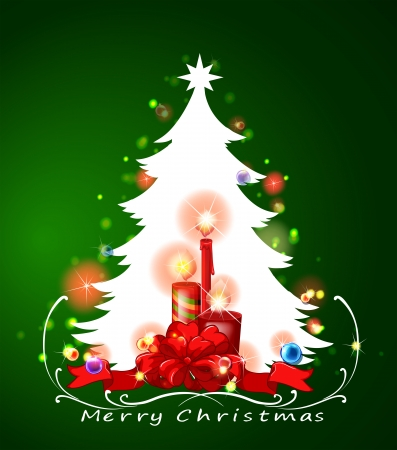 Illustration of a white christmas tree Vector