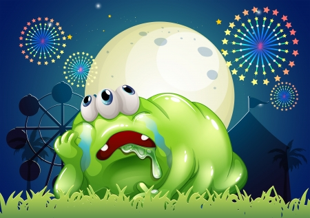 tiresome: Illustration of a tired green monster at the carnival Illustration
