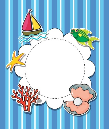 seashell: Illustration of an empty round template with sea creatures Illustration
