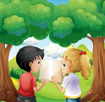 young girls nature: Illustration of the two kids discussing at the forest