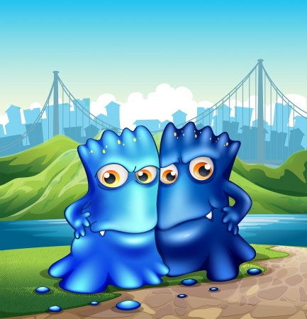Illustration of the two monsters in the city Vector