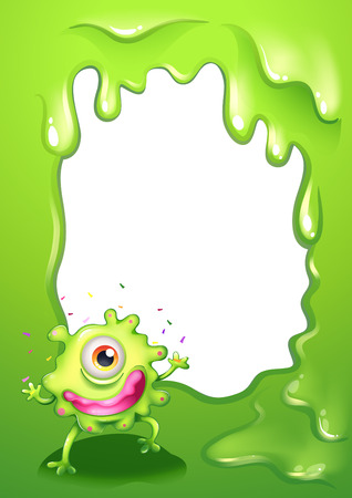 Illustration of a one-eyed green monster with a pink lips Vector