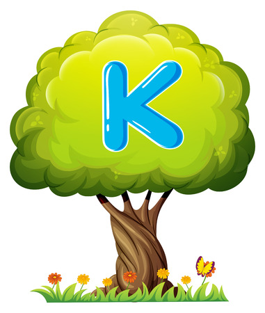 Illustration of a tree with a letter K on a white background