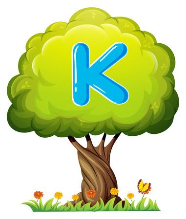 Illustration of a tree with a letter K on a white background Illusztráció