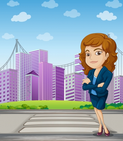 establishments: Illustration of a businesswoman with a formal attire standing at the pedestrian lane